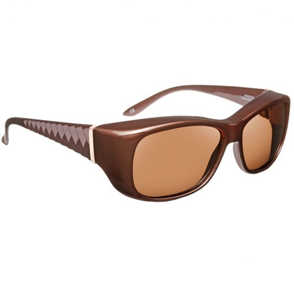 Haven Fit Over Sunglasses MORGAN-DEBOSSED-CHEVRON-Mocha Brownframe, amber lenses