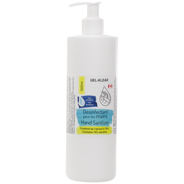 Gel-Klear – Hand Sanitizer with Pump, 500ml – Contains 70% alcohol
